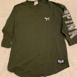 PINK Vs Green 3/4 Sleeve Top